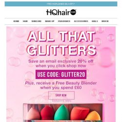 [HQhair] 20% off + Free Beauty Blender | All That Glitters