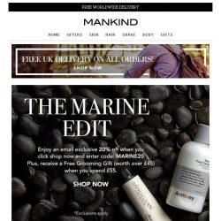 [Mankind] The Marine Edit | 20% off + Free Grooming Gift
