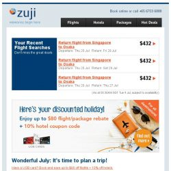 [Zuji] Rejoice, UOB Cardmembers! Up to $80 off flights.