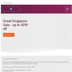 [Qatar] Don't miss our Great Singapore Sale and save up to 40%* off fares