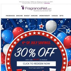 [FragranceNet] This is worth your attention ❕ Shop our awesome 4th of July event (30% Off!)
