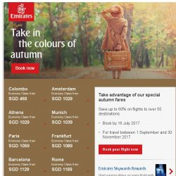 [Emirates] Save more on autumn fares with over 50 destinations to choose from