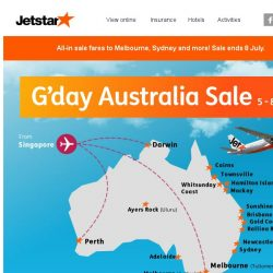 [Jetstar] G'day Bq Sg! Australia Sale now on. Hurry, sale ends 8 July.