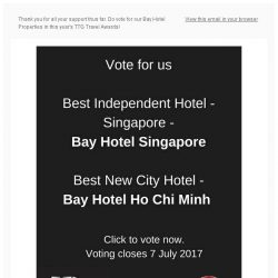 [Bay Hotel] Last Chance to Vote for Bay Hotels in the TTG Travel Awards 2017!