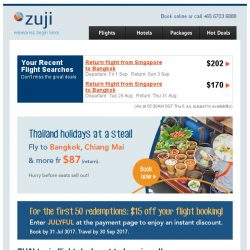 [Zuji] Fly to Thailand fr $87 + up to $80 off flash sale fares!