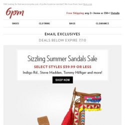 [6pm] $39.99 or less sandals?! Yes, please!