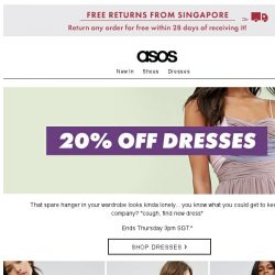 [ASOS] 20% off dresses – swish, swish