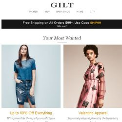 [Gilt] Up to 60% Off Style Must-Haves, Valentino Apparel, James Perse and More Start Today at Noon ET
