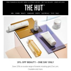 [The Hut] 20% off Beauty [One Day Only]