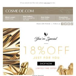 [COSME-DE.com] You're Special! 18% off on your order! LAST CHANCE ENDS TODAY! Shop Now!