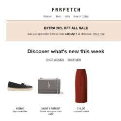 [Farfetch] New in for Bargainqueen | Extra 20% off Sale