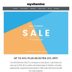 [MyVitamins] Last Chance | Up to 65% off SALE...