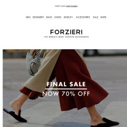 [Forzieri] Act fast: SALE is Now 70% Off