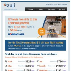 [Zuji] Exclusive $15 flight coupon code for you! For all cities.
