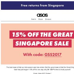 [ASOS] 15% off – the Great Singapore Sale is here