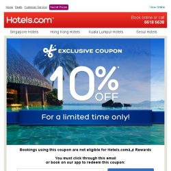 [Hotels.com] Don't miss out! 10% off ends Sunday!