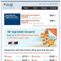 [Zuji] Bangkok, Tokyo and more fr $115 + up to $80 rebates.