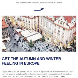 [Finnair] Special offers to Europe: book by 17 July