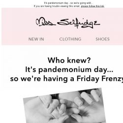 [Miss Selfridge] TODAY ONLY! 25% off between 1-2pm