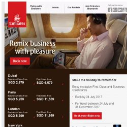 [Emirates] Fly Emirates Business Class from SGD 2,979
