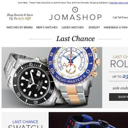 [Jomashop] LAST CHANCE: Rolex • Burberry • Invicta • Fortis • Swatch
