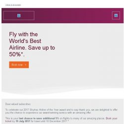 [Qatar] Last chance. Save up to 50% with the World's Best Airline.