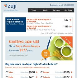 [Zuji] 72-hour sale: Fly to Japan fr $377 + extra $50 off.