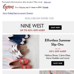 [6pm] Up to 65% off Nine West, Calvin Klein and more!