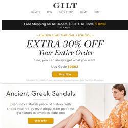 [Gilt] Extra 30% Off Everything | Ancient Greek Sandals, BCBGMAXAZRIA, Ray-Ban Sunglasses, Bath Towels: Extra 25% Off and More Start Today at Noon ET