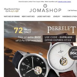 [Jomashop] 72 HOURS: Perrelet Automatic Watches $975 • Legend Watches $60 Coupon
