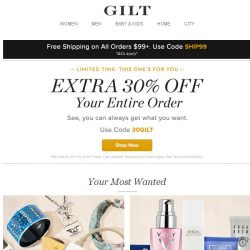 [Gilt] Extra 30% Off Ends Soon + The Luxury Shop, Your Skin Care Problems, Solved, Karl Lagerfeld Kids: Clothes & Shoes and More Start Today at 9pm ET