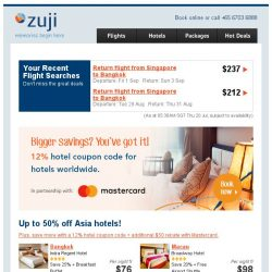 [Zuji] Up to 50% off Asia hotels! Plus, 12% hotel coupon code.