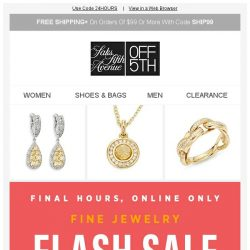 [Saks OFF 5th] ENDS Today: EXTRA 40% OFF Bavna, Effy & MORE