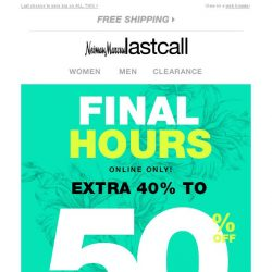 [Last Call] FINAL HOURS! Extra 40%–50% off bags, jewelry, accessories, & MORE