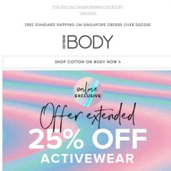 [Cotton On] 25% Off Activewear EXTENDED! Two Days Only.