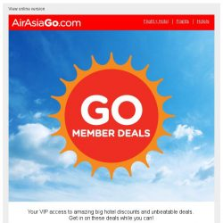 [AirAsiaGo] ☀ Congratulations! You qualify for 1/2 price hotel sale. [Coupon inside] ☀