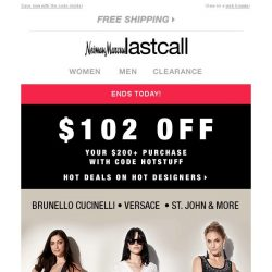 [Last Call] Ends Today! $102 off Brunello Cucinelli, Versace, St. John, & more: Designer Shop