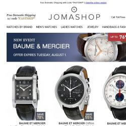 [Jomashop] JUST IN: Tom Ford • Baume & Mercier • Hublot • BWC • Anne Klein
