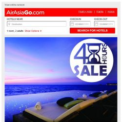 [AirAsiaGo] ⌚ 48 Hours Sale   Starts Today! - Hotel deals up to 65% ⌚