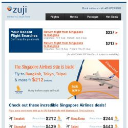 [Zuji] All Singapore Airlines flights on sale! Fly fr $212 (return).