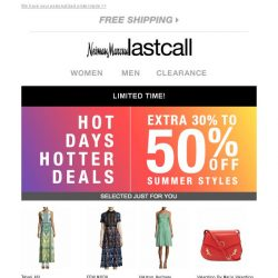 [Last Call] Hot deals >> extra 30%–50% off summer styles