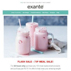 [Exante Diet] Payday Special - 75p Meal SALE!