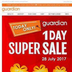 [Guardian] 1 day. 1 chance. 1 SUPER SALE. Are you ready for this? GO NOW 🏃!
