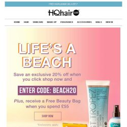 [HQhair] 20% off + Free Beauty Bag | Life's a Beach