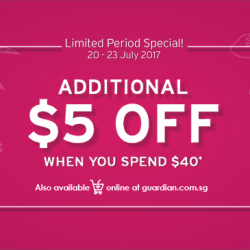 Guardian: Enjoy Additional $5 OFF in Stores & Online!