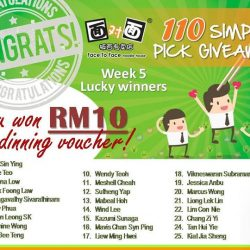 [Face to Face Noodle House] Congratulations to our Week 5 lucky winners!