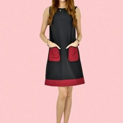 [MOONRIVER] Oliva Colour Block Dress With Front Pockets - Selling fast, available in Black and Light Blue.