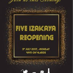 [Five Izakaya Bar] Head down to our Reopening this Evening and don't miss our exclusive ONE DAY BEER TOWER PROMOTION @ $50++* !