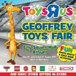 "[Babies'R'Us] C'mon down to the Toys""R""Us Geoffrey Toys Fair at the City Square Mall Atrium today!"