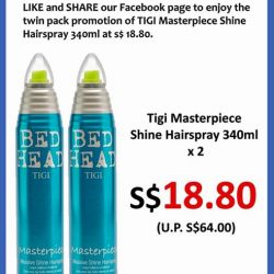 [Top Secret] Like and share our Facebook page then you can enjoy the twin pack promotion of TiGi Masterpiece Shine Hairspray 340ml